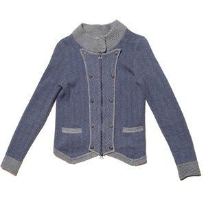 Shae Military Style Herringbone Zip Up Sweater